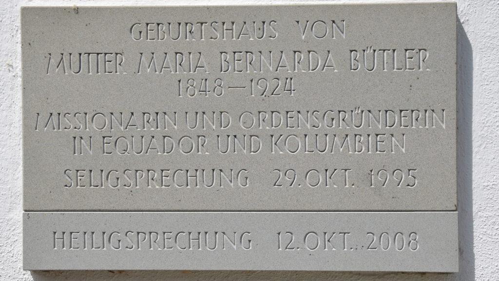 Inschrift am Geburtshaus